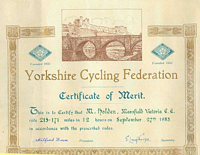 Mansfield Vics Cycling Club, Memories from a 1950s Member