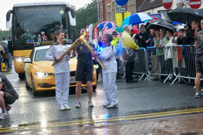 Olympic torch in Mansfield 28th June 2012