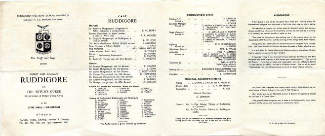 Ruddigore in 1961