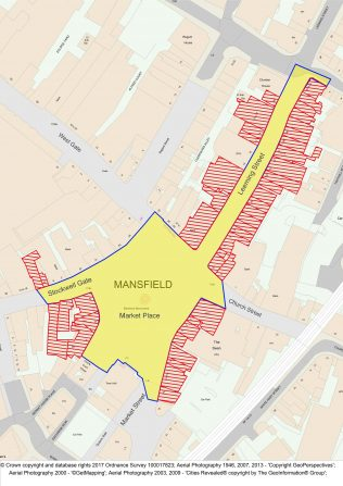 Map showing area of Mansfield Revived Town Centre project | Matt Wright