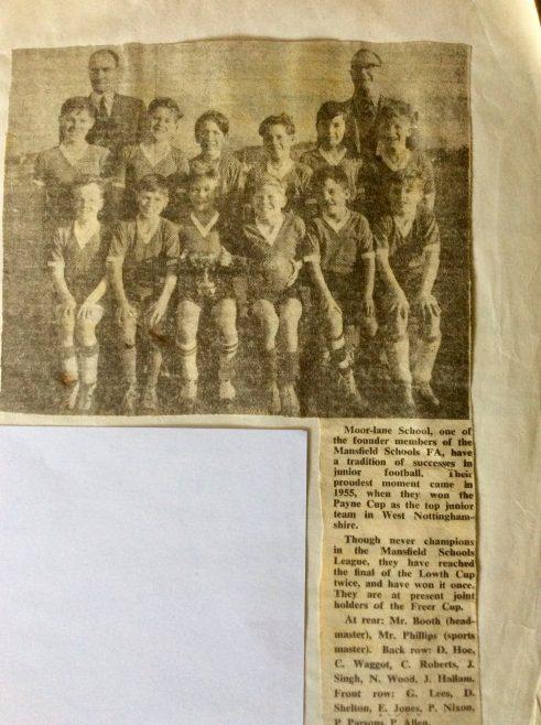 Moor Lane School. 1961. Frederick Freer Football Trophy