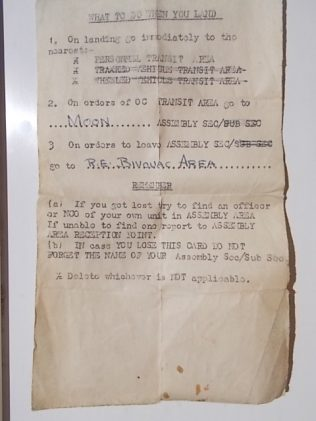 Instructions for landing on D day