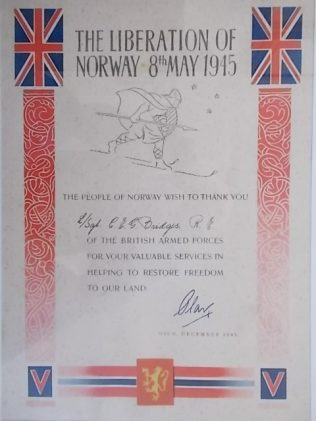 Certificate of thanks from the people of Norway