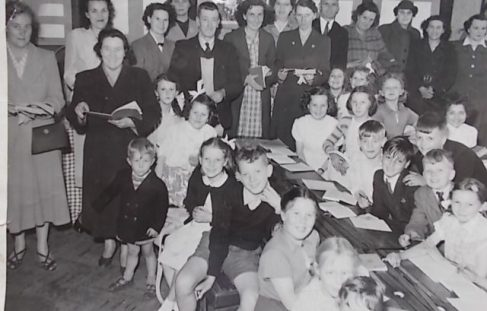 Broomhill school parents day in the fifties