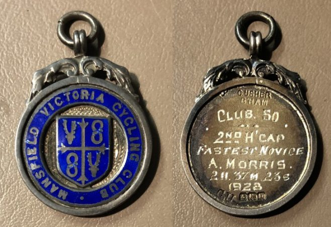 Mansfield Victoria Cycle Club prize medal (A Morris 1928)