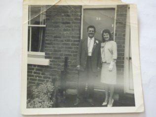 Matt Hudson and daughter Marlene on her wedding day outside No35 | Marlene Townsend