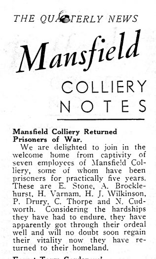 Remembering Mansfield Colliery Employees