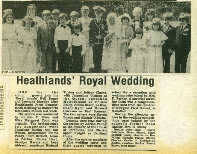 1981 Heathlands mock Royal Wedding | Chad clipping