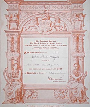 Certificate showing Michael Hayes a music pupil of Nellie Houseley