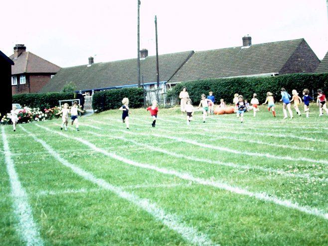 Heathlands First School, Rainworth. Sports Day c1981.