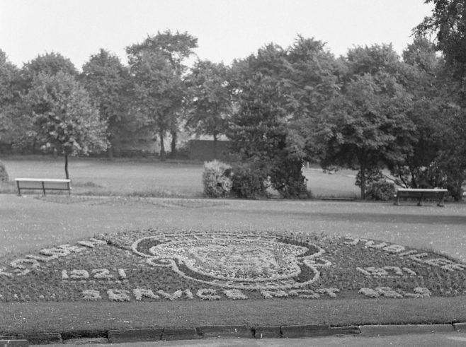 Mansfield - British Legion Crest in Titchfield Park for BL Golden Jubilee 1971 | CHAD 24534