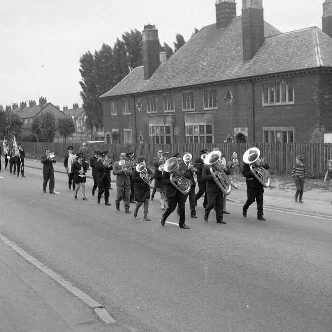 Marching towards St Alban's Church and the cross roads. | CHAD 33882