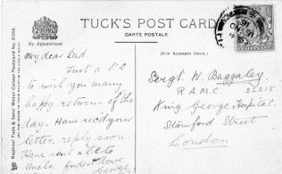 Postcard showing Winifred's fathers address at King George's Hospital, London.