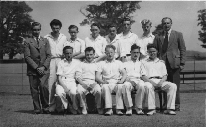 My father, Islwyn (Taff) Thomas is on the right.  He still has some hair, so this could be late 1940s - I have no way of knowing the dates of these photographs except where a football has the season written on it!