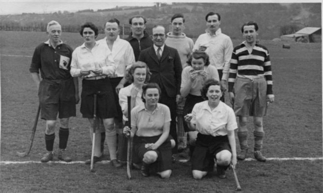 This I assume to be the Staff hockey team. Mr Sanders is on the far left - he was a co-writer of the School Song.  His co-writer could be two places right from him, but I forget his name.  Dad with a lot more hair is next to him so this could be 1947/48.  The debonair looking chap in the white shirt (2nd from right) could be a Mr. Bradbury