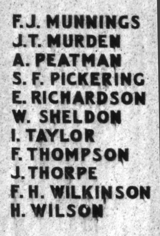 Names on the Cenotaph from WW1