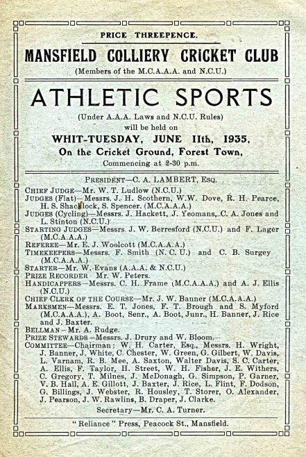 Athletic Sports Whit Tuesday June 11th 1935