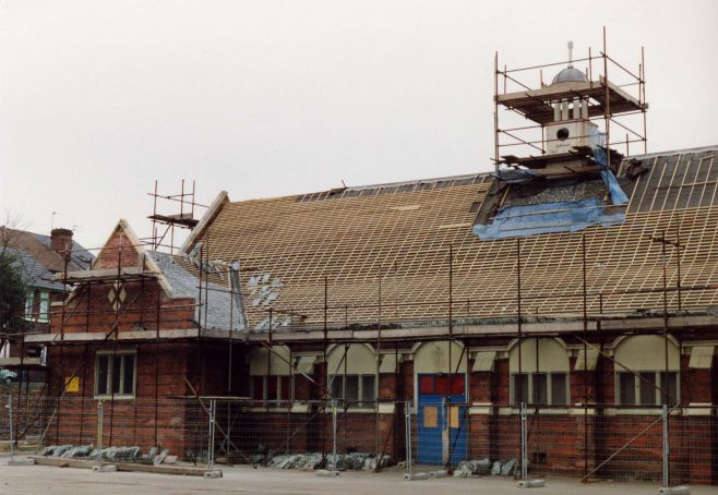 Kingsway Hall renovations and clock being installed 1994 | P Marples