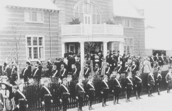 Opening of the Drill Hall May 1909,with the Boyd Brigade looking very smart | P Marples Collection