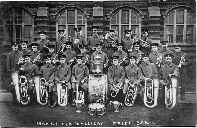 Mansfield Colliery Band in front of the Drill Hall | Manfield Museum 92-158