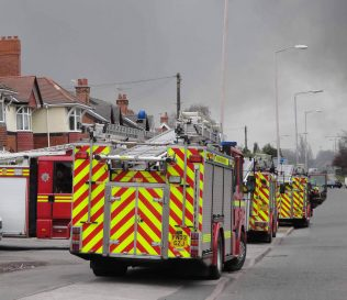 Fire Engines also lined up on Sherwood Hall Road | Malcolm Marples