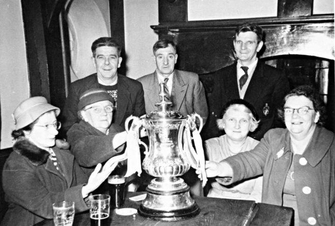 Back - left to right Walter Morley, Harold Evans, Bill Haslam - Front left to right Nina (Gittings) Morley, Matilda Haslam, Maggie Haslam, Ethel Evans