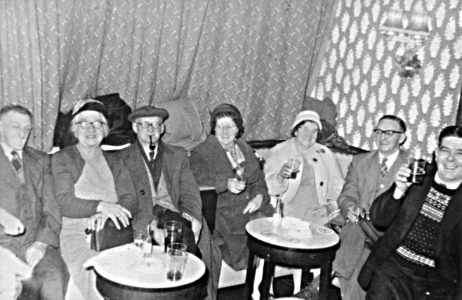 Left to right - Stan Wild, Mrs Derry,  ?   Nina Morely,  ?, /, Walter Morely