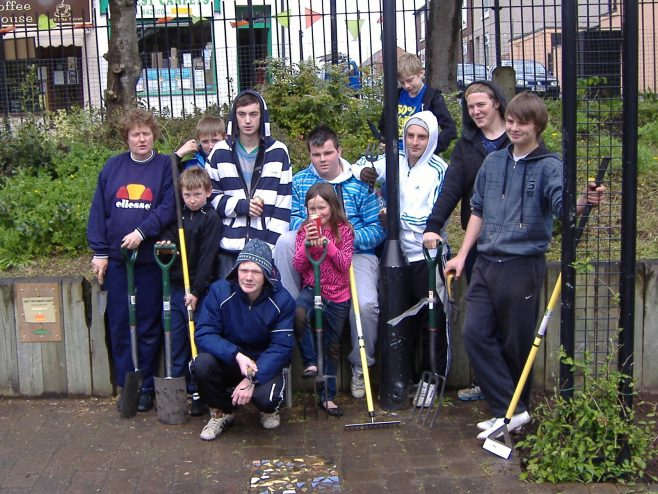 The young people from the Youth Club with Youth Worker Jackie Evans | Val Moss