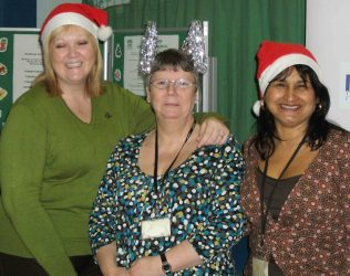 Santa's helpers -Sioned Dolan, Helen Hayes, Milly Alonso