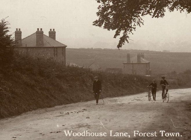 Woodhouse Lane (Old Mill Lane - showing two of the Small Holdings. From post card posted 1915