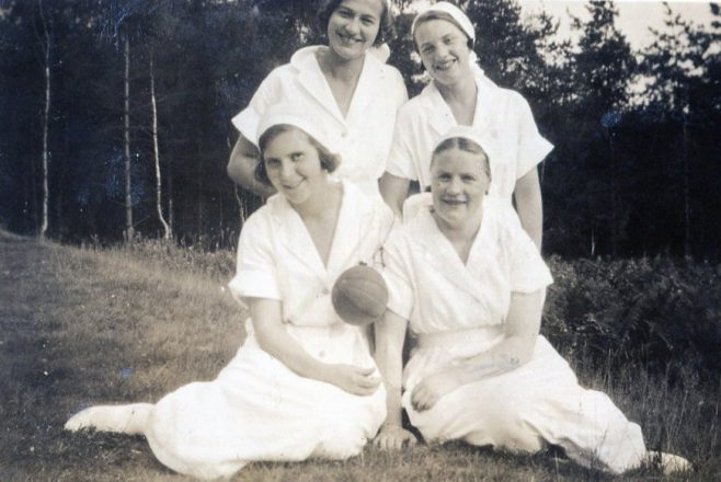 Back, left - Nurse Moore, right - Nurse Coates. Front left Nurse Reid, right Nurse ?   Private Collection