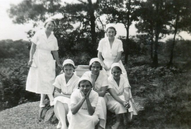 At back Nurses Beignton, S/N Smith, Middle row, Nurses Bakewell, Moore, Coates. Front row unknown | Private Collection