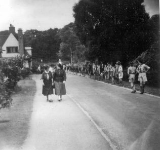 Scouts and Guides forming a Guard of Honour on the main drive into Harlow Wood Hospital - possibly 1950's | Private Collection