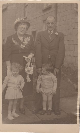 Dorothy Agnes and her third husband David Cooper on their wedding day in 1952 with two of her grandchildren, Stephanie Whittlestone and Stephen Brown outside the Salvation Army Citadel, a converted house on Albert Street where the reception was held.  The entrance to Blackgate Yard can be seen behind them. | Glenn Sutcliffe