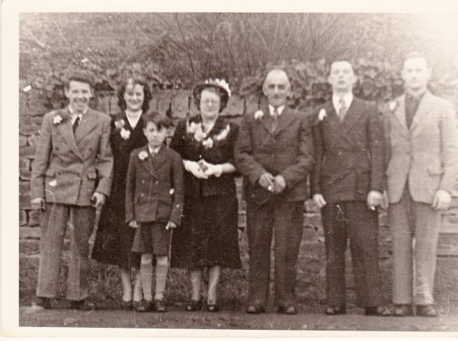 The wedding of Dorothy Agnes 'Dollie' Cox to David Cooper at St Edmunds in 1952. The reception was held at the Turner Memorial Hall. From left, Jack Whittlestone, Dollie Whittlestone nee Cox, Rodney Cox, D. A. Dollie Cox, David Cooper, George Cox and Syd Booth. | Glenn Sutcliffe