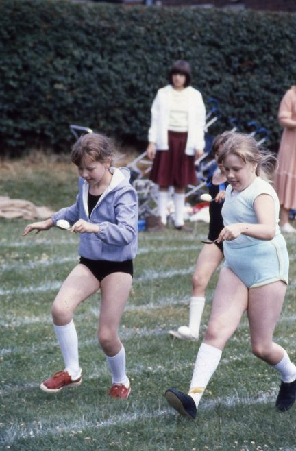 Heathlands First School, sports day c1981. Left, Jacqui Vickers, Right, me (!) | Carolyn Harris - Copyright