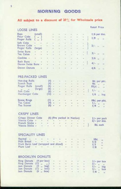 Landers Bread Price List 1963