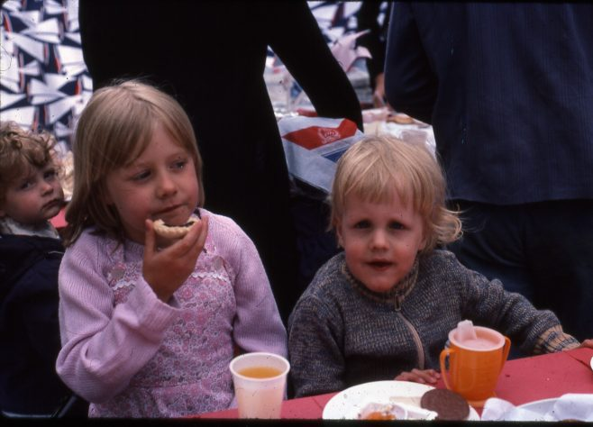 Street Party, 1977, Rainworth, Me and my brother. | Carolyn Harris - Copyright