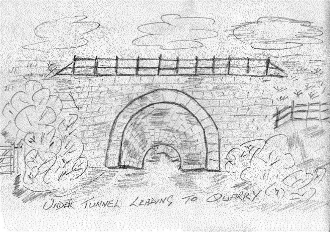 The archway loeading to the quarries. The road and archway are built under the viaduct that still remains..