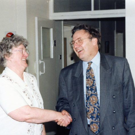 Shirley Blythe retiring after 23 years at Harlow Wood saying good bye to Mr Ian Forster | P Marples