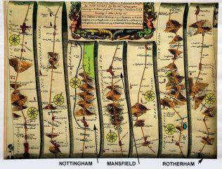 John Ogilby 'Oakham to Richmond' Map of 1675