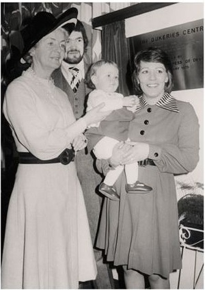 The Duchess of Devonshire with the first baby to be born in the Dukeries centre and her mother.