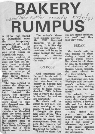 Landers Bakery | Mansfield & Sutton Recorder 28 May 1981
