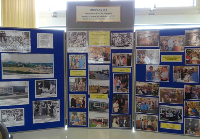 A display showing library events over the past 50 years