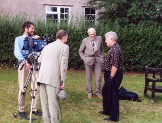 Harold Kingston (right) with BBC film crew and Jack Wakefield in the background | P Marples