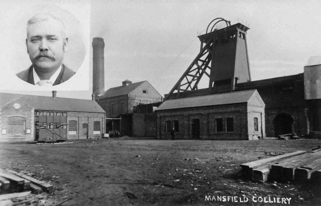 Post card of Mansfield Colliery with a photo of Tom Wakefield inset | Pivate collection