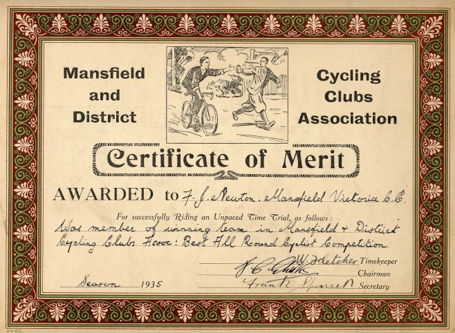 Cycling Certificate 1935 | P Marples