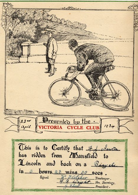 Cycling Certificate Lincoln and Back | P Marples Collection