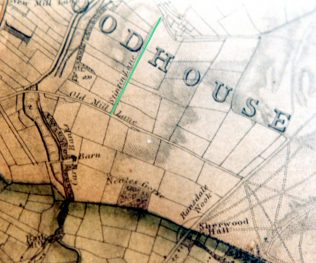Section of Sanderson's Map 1835 - 25 Miles Round Mansfield. Stinting Lane is marked in green. | M & P Marples