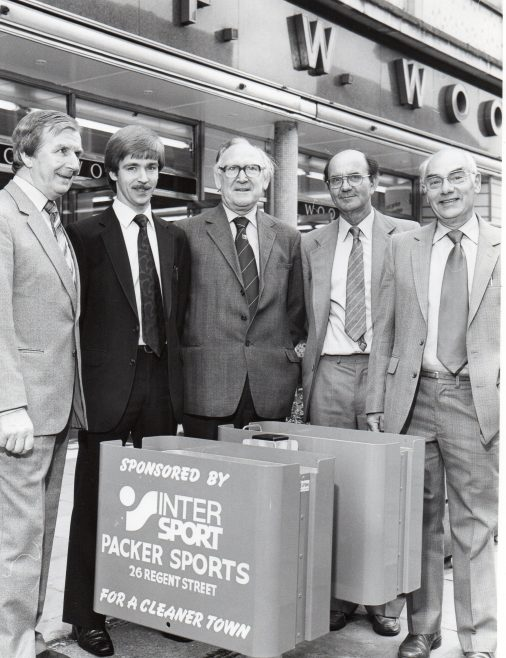 Mike Packer (2nd left) litter bin initiative